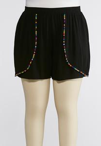Plus Size Pom Pom Trim Gauze Shorts