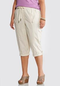 Plus Size Poplin Utility Crop Pants