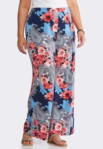Plus Size Scenic Floral Palazzo Pants