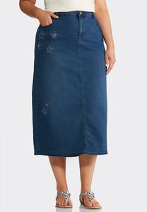 Plus Size Star Stitched Denim Skirt
