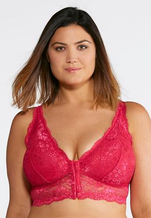 Plus Size Pink Lace Front Close Bralette at Cato in Brooklyn, NY | Tuggl