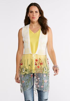 Pointelle Mesh Embroidered Vest   Tuggl