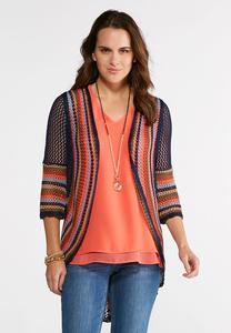 Plus Size Crochet Bell Sleeve Cardigan
