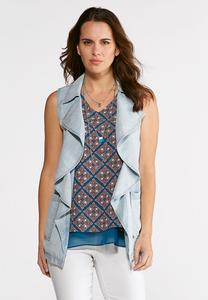 Plus Size Waterfall Chambray Vest