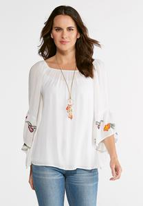 Floral Embroidered Poet Top