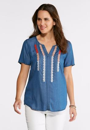 Plus Size Aztec Embroidered Shirt