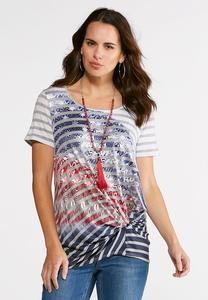 Knotted Striped Americana Top