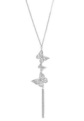 Rhinestone Butterfly Tassel Necklace | Tuggl