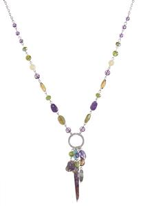 Semi-Precious Cluster Pendant Necklace