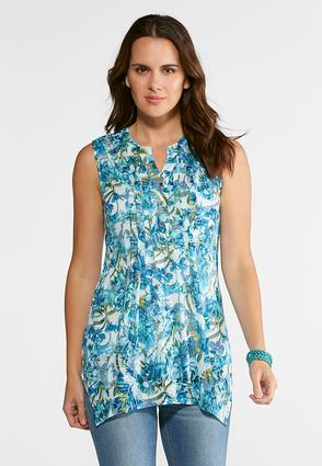 Pleated Burnout Floral Top