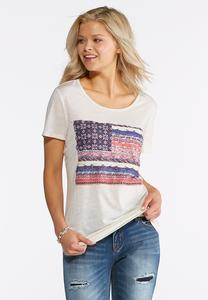 Plus Size American Flag Graphic Tee