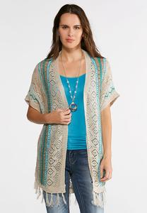 Plus Size Pointelle Stripe Fringe Cardigan
