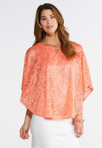 Plus Size Pearl Embellished Lace Capelet