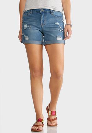 Distressed Pearl Denim Shorts | Tuggl