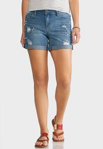 Distressed Pearl Denim Shorts