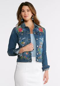 Bird Floral Embroidered Denim Jacket