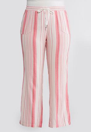 Plus Size Drawstring Linen Striped Pants