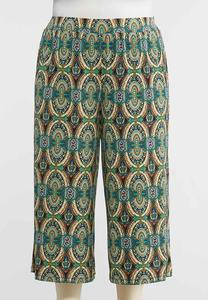 Plus Size Peacock Medallion Palazzo Pants