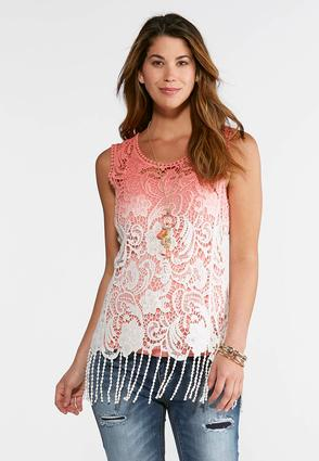 Plus Size Ombre Crochet Fringed Tank
