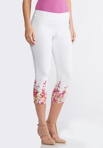 Cropped Floral Border Pants