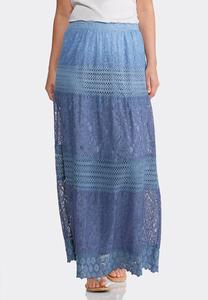Plus Size Ombre Lace Peasant Maxi Skirt