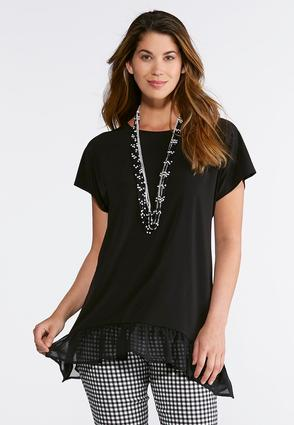 Plus Size Chiffon Trim Sharkbite Top