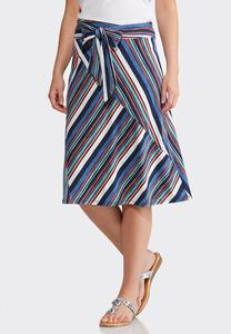 Plus Size Striped Tie Skirt