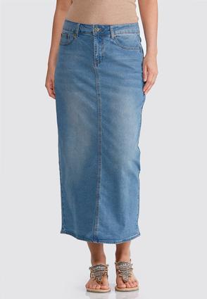 Plus Size Essential Denim Maxi Skirt   Tuggl