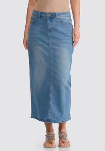 Plus Size Essential Denim Maxi Skirt