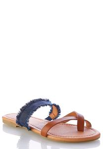 Fringe Denim Toe Loop Sandals