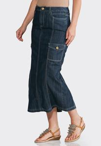 Plus Size Denim Cargo Maxi Skirt