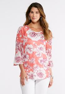 White Blossom Burnout Top