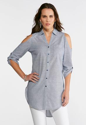 Plus Size Crochet Back Striped Button Down Top at Cato in Brooklyn, NY | Tuggl