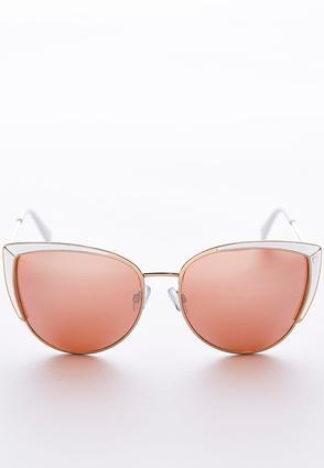 White Trim Cateye Sunglasses | Tuggl