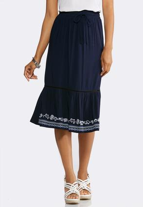 Plus Size Puff Print Hem Midi Skirt   Tuggl