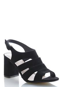 Faux Suede Block Heeled Sandals