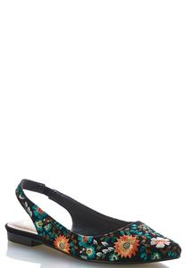 Embroidered Slingback Flats
