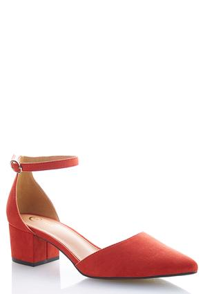 Block Heel Faux Suede Pumps