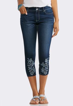 Cropped Paisley Hem Jeans | Tuggl