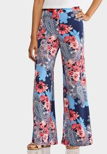 Petite Scenic Floral Palazzo Pants