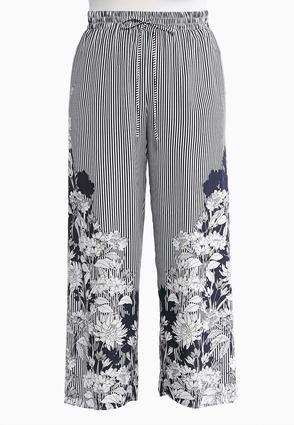 Plus Size Stripe Floral Pants | Tuggl