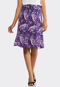 Seamed Paisley Puff Print Skirt