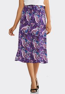 Plus Size Seamed Paisley Puff Print Skirt