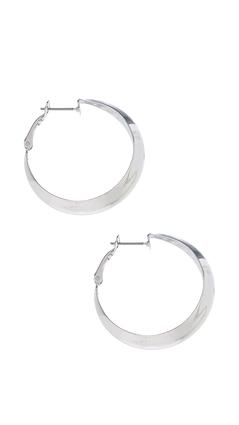 Angled Silver Hoops