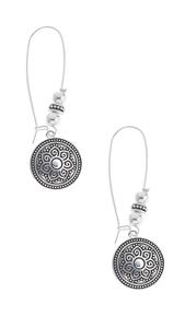 Eched Floral Circle Earrings