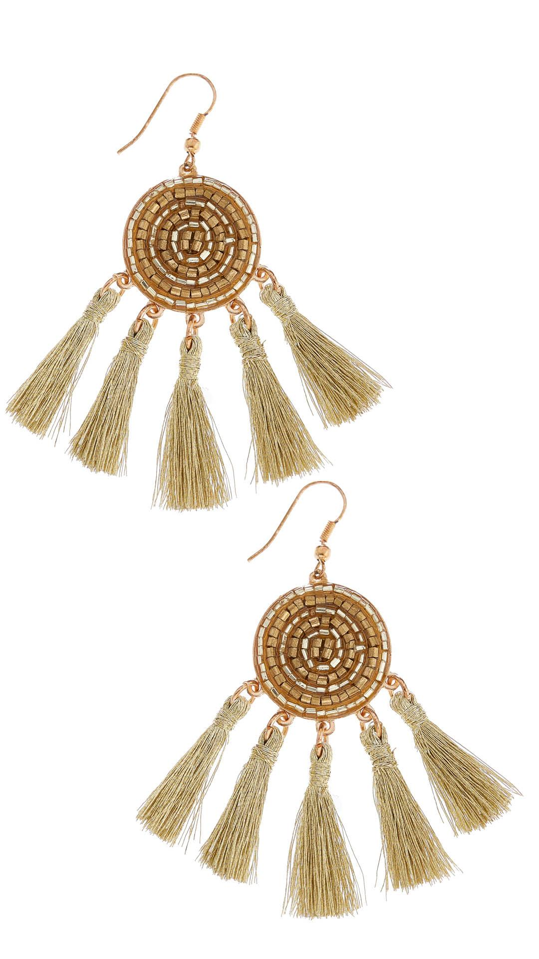 bello purple gold product earrings tassel tassle wes