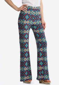 Petite Multicolor Medallion Flare Pants