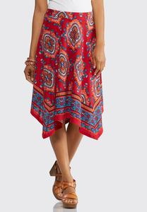 Red Medallion Hanky Hem Skirt