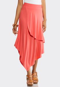 Solid Faux Wrap Midi Skirt