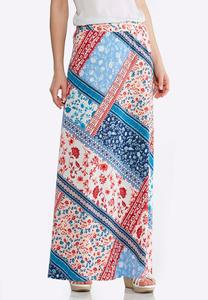 Plus Size Americana Patchwork Maxi Skirt